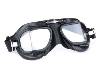 Halcyon Racing Goggles / Black Painted Brass Frames / Black Leather / For Open Faced Motorcycle Helmets