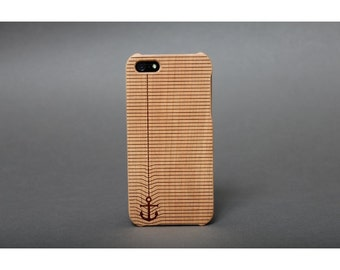 Hull wooden box engraved iPhone SE / 5 / 5s - anchor