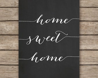 30x40 cm HOME SWEET HOME chalkboard art printable, chalkboard home decor, entryway decor, -  instant download