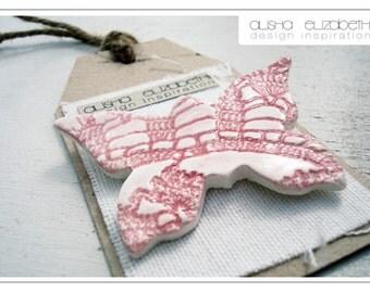 Ceramic Pink Butterfly Brooch