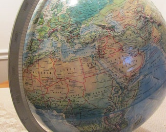 1960 Rand McNally World Topographic Globe