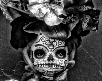 Beautiful Mortal Goth Black and White Dia de Los Muertos Flower Doll PRINT 553 by Michael Brown