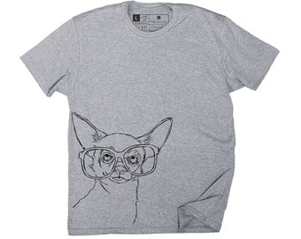 Men's - Hipster Chihuahua Dog T-Shirt - Small, Medium, Large, XL, 2XL in 2 Colors