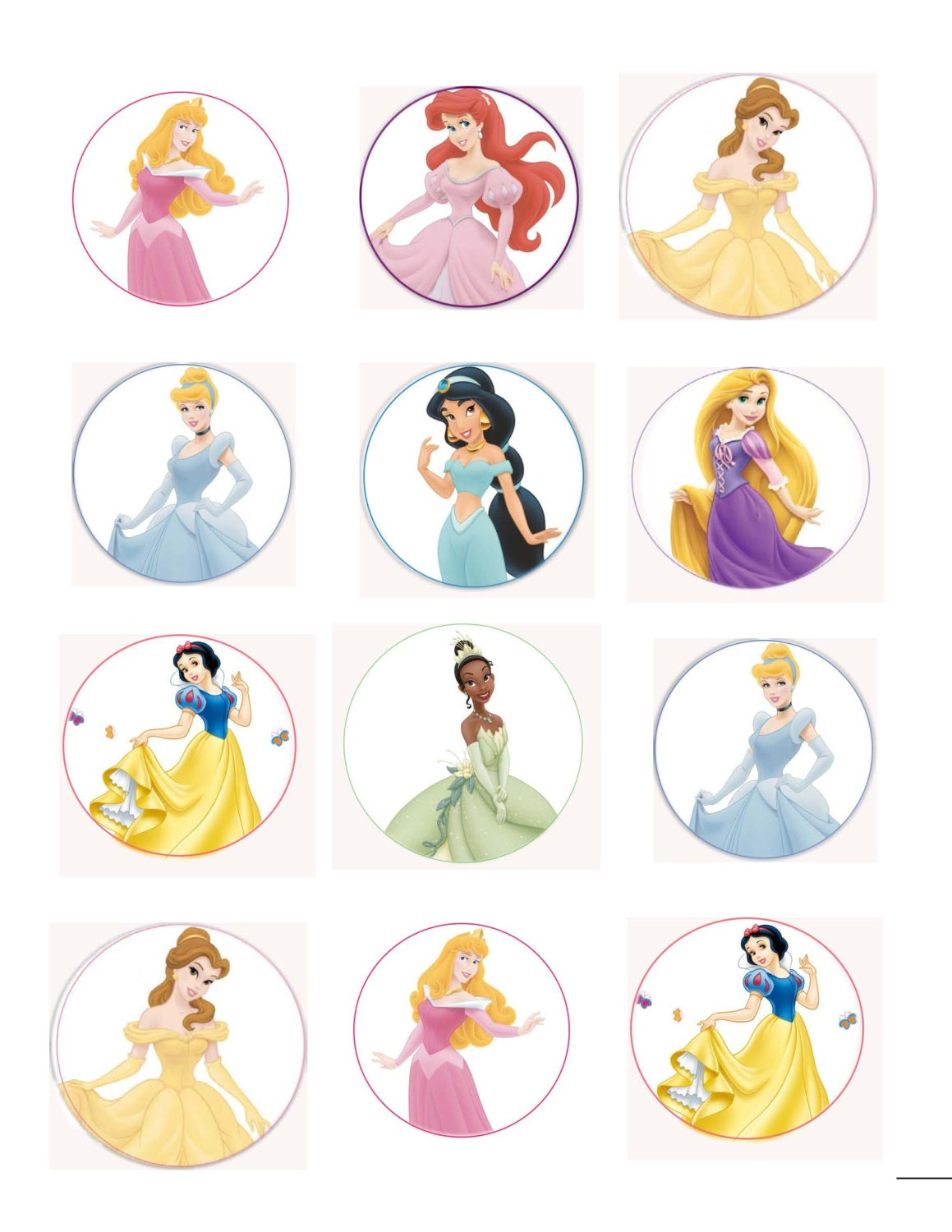 Cake Topper Disney Princess : Disney Princess Edible Cup Cake Toppers with Phrases