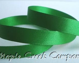 """5 yards Emerald Green Double Face Satin Ribbon, 5 Widths Available: 1 1/2"""", 7/8"""", 5/8"""", 3/8"""", 1/4"""""""