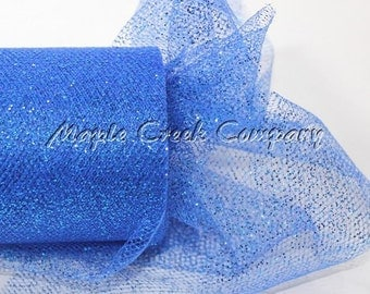 ROYAL BLUE Glitter Tulle Roll 6in x 30ft - Sparkling Tulle (10 yards)
