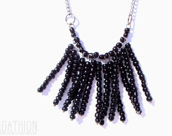 """Black Beaded """"Thirteen"""" Statement Necklace with 13 seed bead drops or dangles"""