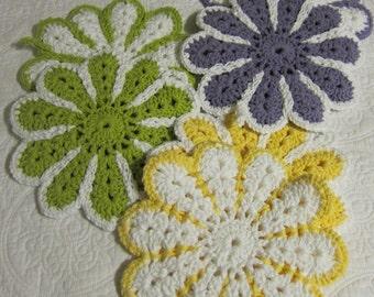 Crochet Pot Holder,Crochet Hot Pad,Cotton,Double Thickness,Set of 2,Flower Hot Pads,Flower Pot Holders,Kitchen,Retro Kitchen,Flower,Gifts