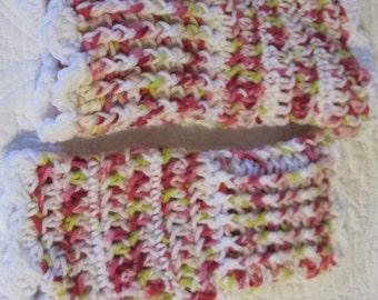 Crochet Fingerless Gloves/Multi Color in Pink, White and Green