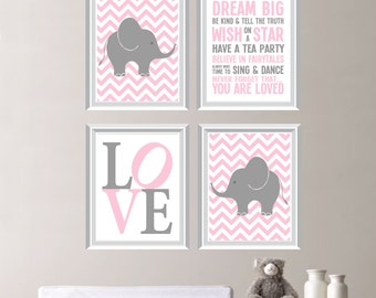 Love Elephant Rules Jungle Safari Quad - Shown in Light Pink and Gray - Baby. Decor. Nursery. Girl. - You Pick the Size (NS-168)