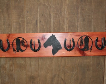 Horseshoe coat/tack rack