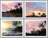 Paradise- Set of 6 NOTE CARDS - Watercolor Paintings by Linda Henry (NCWC001)