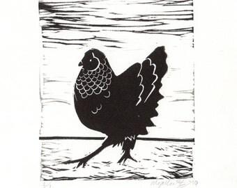 Cluck 2010 - Linoprint, original artwork