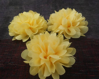 Yellow Chiffon Flowers , use in DIY craft for baby,children accessories and others