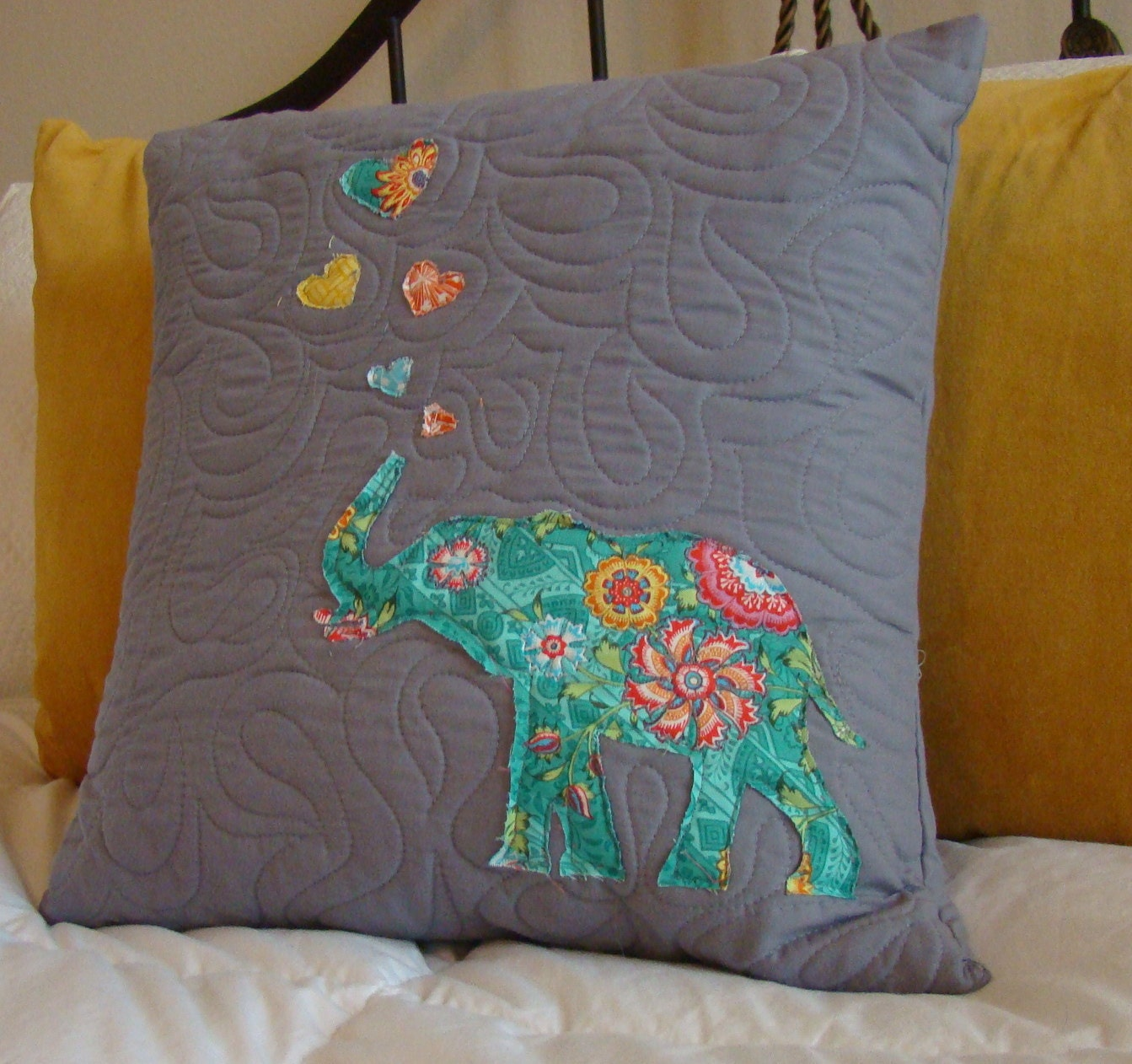 Fun Colored Elephant Throw Pillow Gray Throw Pillow