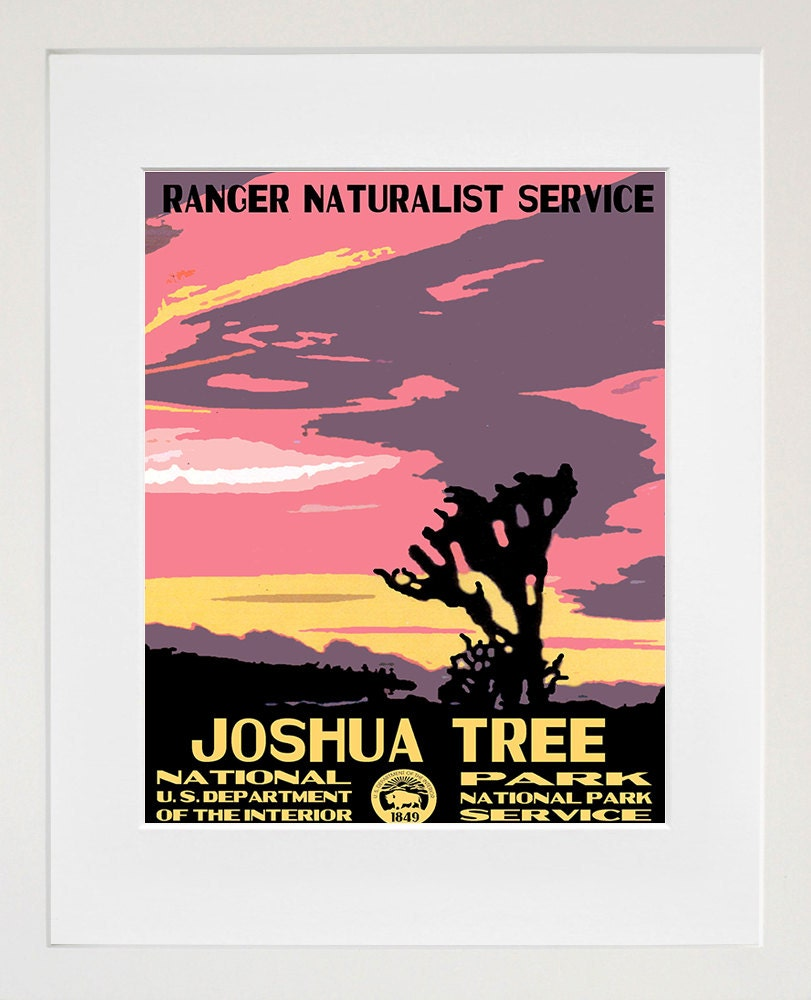 Travel To National Parks Poster: Joshua Tree National Parks Travel Poster Vintage Art Print