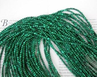 "3mm round malachite beads, 16"" strand long"