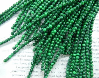 4mm artificial malachite round beads, 15.5 inch