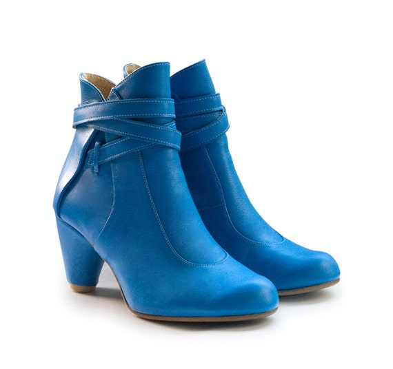 SALE! 36% off!  Boots Royal Blue Tania, handmade boots, heels, leather shoes. Women shoes, free shipping.