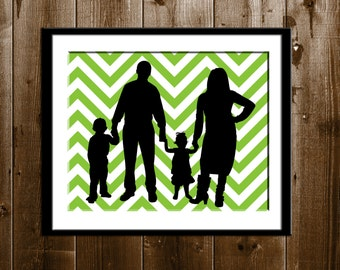 Custom Chevron Silhouette Portrait from your Photo, Lime Chevron Background with Family Silhouette, Silhouette Art, Wall Decor, Modern Art