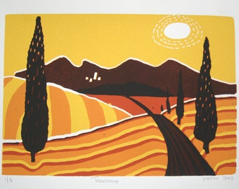 Toscane, lino print
