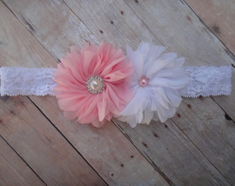 Bloom flower headband, Double bloom headband, Double ballerina flower, Ballerina headband