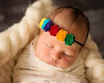 Rainbow Rosette Headband, Rolled Rose Headband, Colorful Rolled Rose Headband