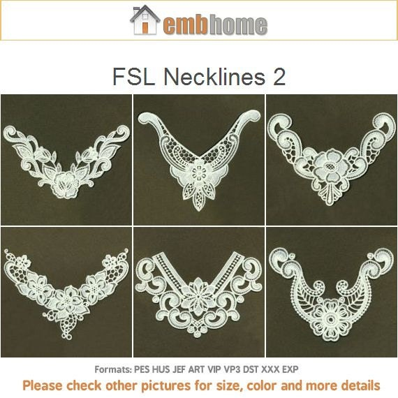 Items Similar To Fsl Necklines 2 Free Standing Lace Floral