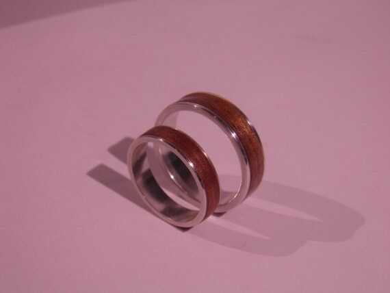 sterling silver ring with wood inlay