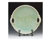 Large Pottery Bowl with Handles & Design, Green Celadon, Stoneware, Ready to Ship, Wedding Gift