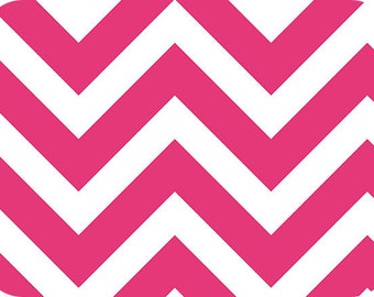 Fuchsia/Snow Chevron Minky Fabric (Shannon Fabrics) Hot Pink White
