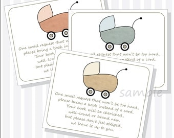 Printable Baby Shower Book Request Insert - Book instead of Card Insert - DIY Printable Vintage Baby Carriage Design