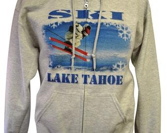 Ski Lake Tahoe Full-Zip Hoodie Ash