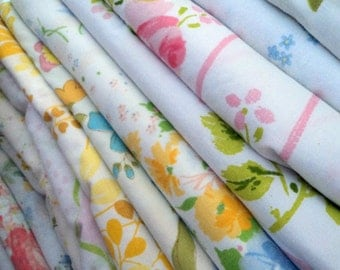 Vintage Sheet / Bed Linens Fat Quarters. Surprise Bundle. 4 Pack.