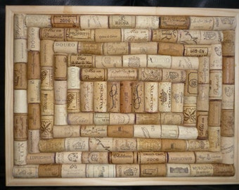 "Notice / Pin Board hand-crafted from re-cycled Wine Corks in unique Spiral layout- size 16"" x 12"" (40 x 30cm )"