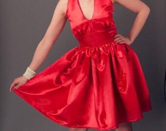 Retro Dress - Halter Dress - Swing Dress - Pinup Dress - Rockabilly Dress - Marilyn Monroe Dress - Pin Up Dress -  Custom Size - Red - Black