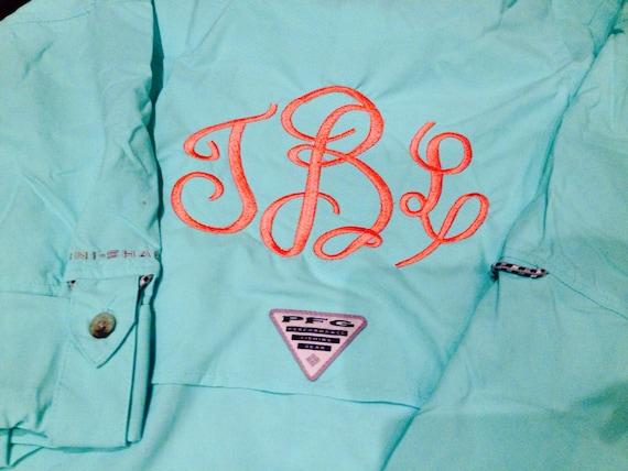Monogram columbia fishing shirt long sleeve by for Monogrammed fishing shirts