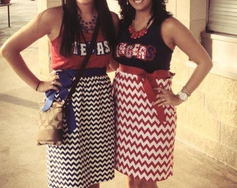 Texas Rangers tank top bling chevron dress with ribbon tie