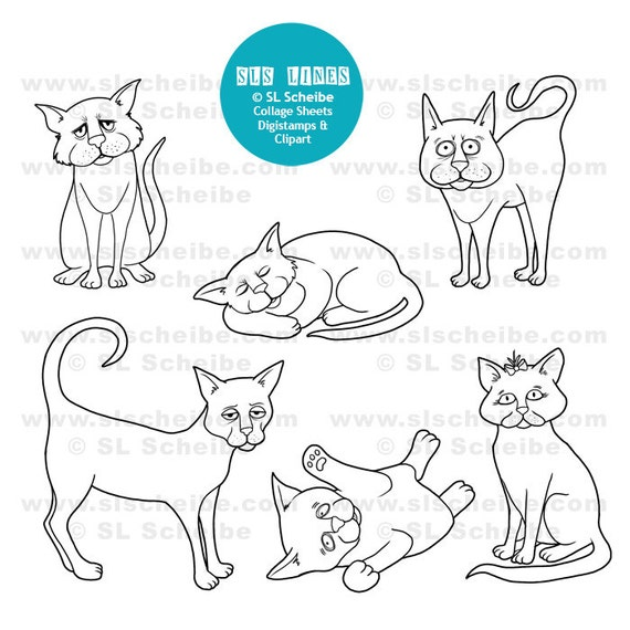 Digital Stamp cute cats cat digistamp, instant download, kitty pussy cat