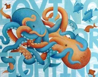 Octopus Fine Art Print, ''Loving Or Fighting?''