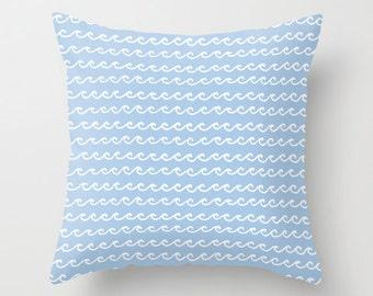 Boy Nursery Pillow, Ocean Waves Pillow, ocean pillow, pastel blue pillow, nautical beach pillow, baby boy nursery decor, choose color