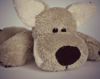 WOOF is a HANDSEWN plush wolf :)