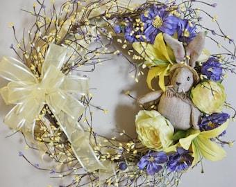 Easter Wreath, Bunny Wreath, Spring Wreath, Briar Rabbit in Yellow - Straw wreath based Premium Silk Floral Wreath