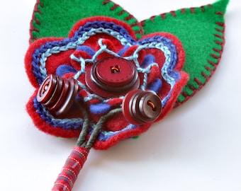 Felt Flower Buttonhole Corsage (Two Leaves)
