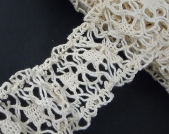 "3y / 2.74 mt Stretch Beige Cotton Crochet Lace Trim Craft DIY 1-1/2"" 3.8cm L575"
