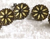 5 French Art Deco Drawer Pulls with hard  plastic Architectural Salvage Bronze furniture decoration,