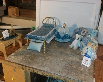 High Quality Dollhouse Furniture bedroom set lot rare handmade dressed metal ooak bed tables & chair doll teddy bear desk pillows 1/12 scale