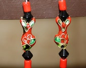 Earrings with Cloisonne beads.  Red, green and black.  Red and black beads. - ShineysFunShop
