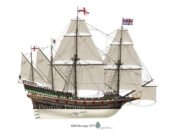 HMS Revenge 1577 English Galleon Profile Artwork, A5 / A4 Glossy Print warship Spanish Armada