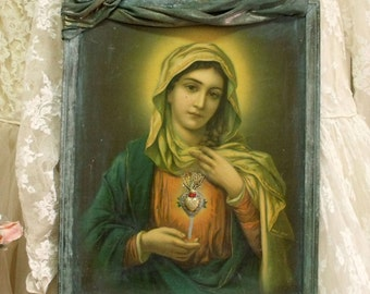 SALE Vintage Virgin Mary jewelry Heart framed